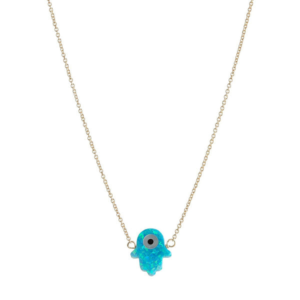 Blue Hamsa With Round Eye Necklace | Bara Boheme | Fashion Accessories | Necklace