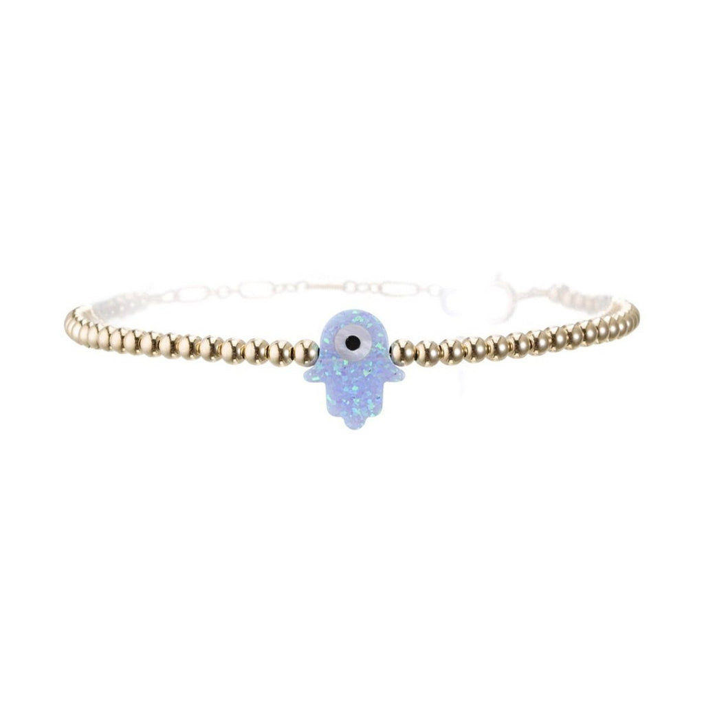 White Hamsa With Round Eye Bracelet | Bara Boheme | Fashion Accessories | Bracelet