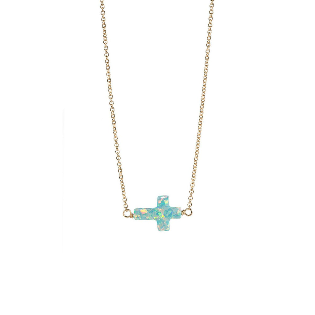 Green Cross Sideway Necklace | Bara Boheme | Fashion Accessories | Necklace