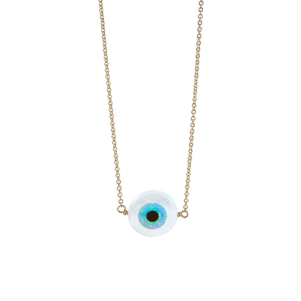 White Small Round Eye Necklace | Bara Boheme | Fashion Accessories | Necklace