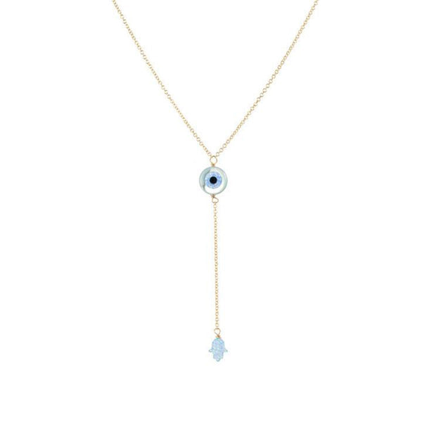 Round Shape Eye  Lariat Necklace | Bara Boheme | Fashion Accessories | Necklace
