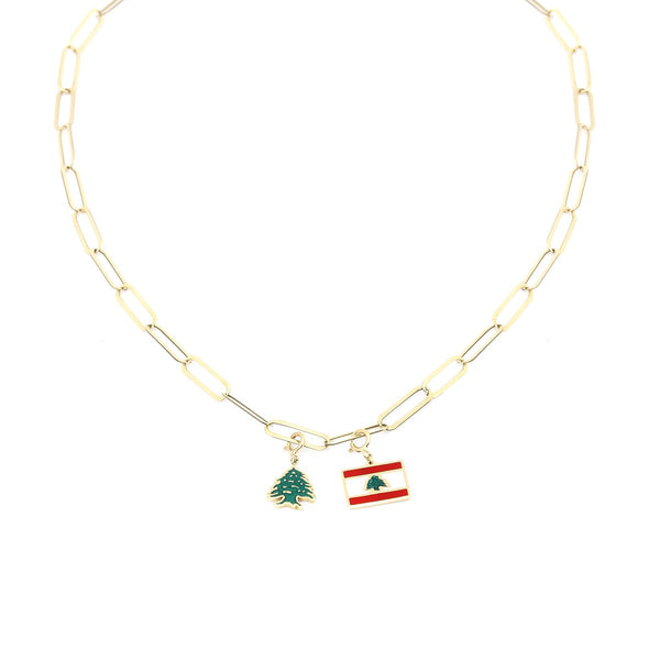 18K Gold Beirut Flag With Cader Tree Necklace | Stunner | Fashion Accessories | Necklace