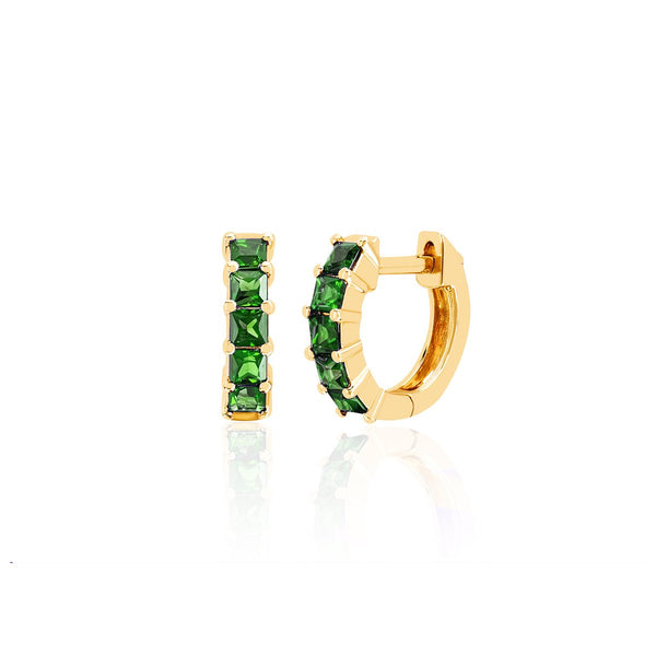 14K Gold Tsavorite Mini Huggie Earrings | EF Collection | Fine Jewelry | Earrings