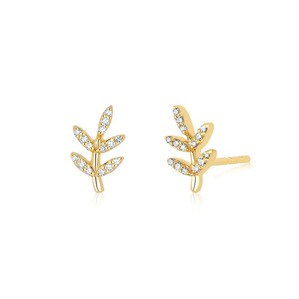 14K Gold Leaf Stud Earrings | EF Collection | Fine Jewelry | Earrings