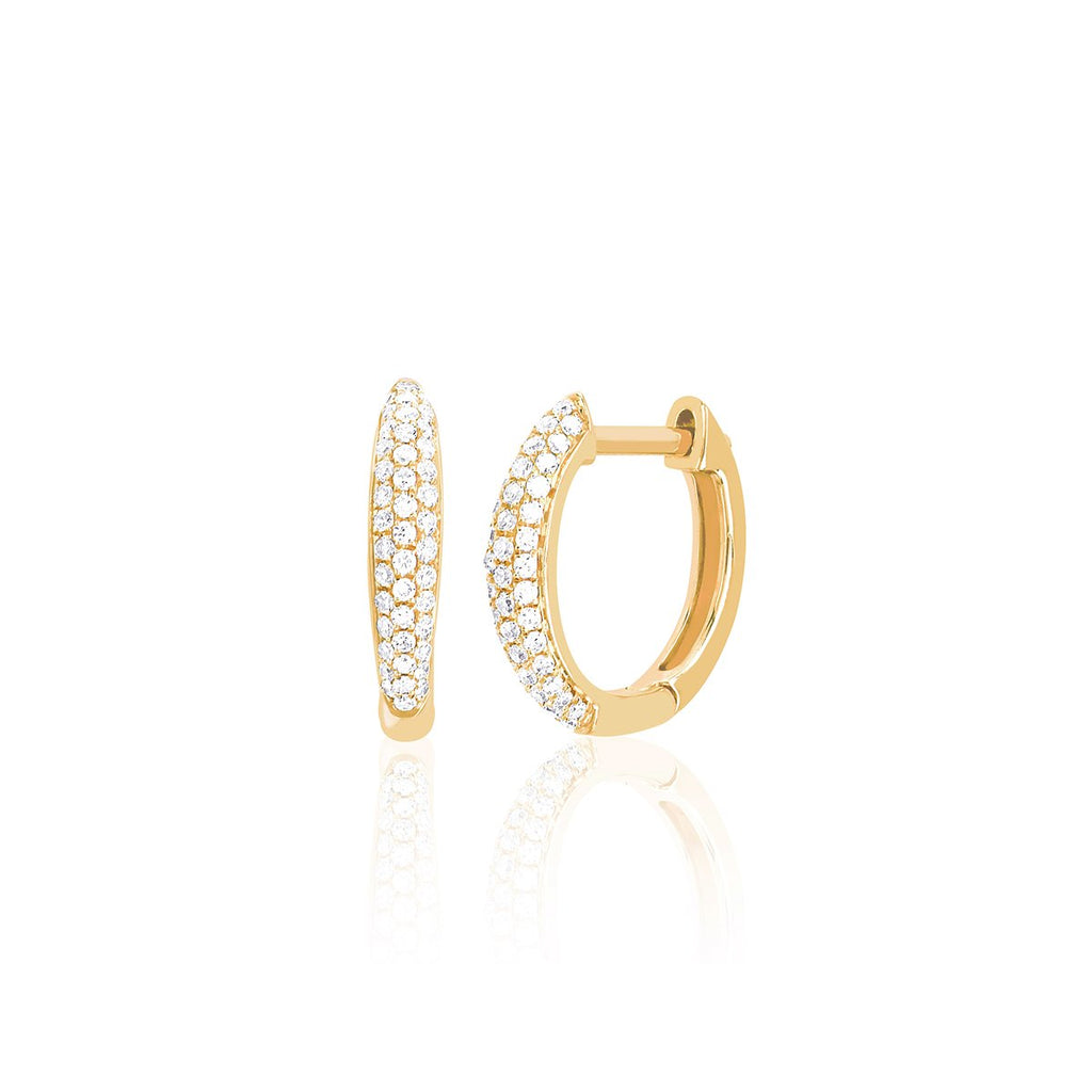 14K Gold Diamond Dome Mini Huggie Earrings | EF Collection | Fine Jewelry | Earrings