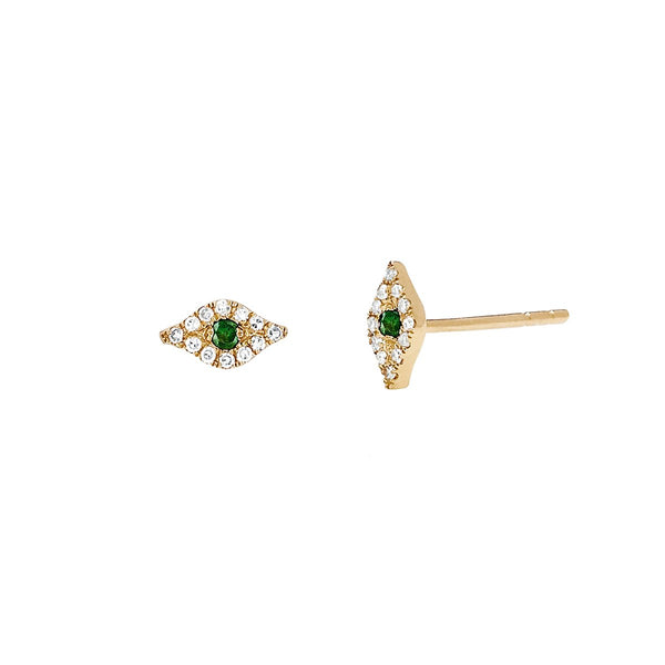 14K Gold Tsavorite Evil Eye Stud Earrings | EF Collection | Fine Jewelry | Earrings