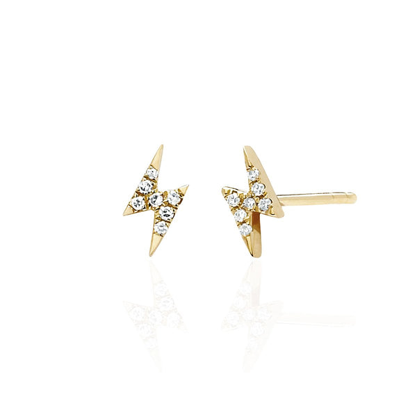 14K Gold Lighting Bolt Stud Earrings | EF Collection | Fine Jewelry | Earrings
