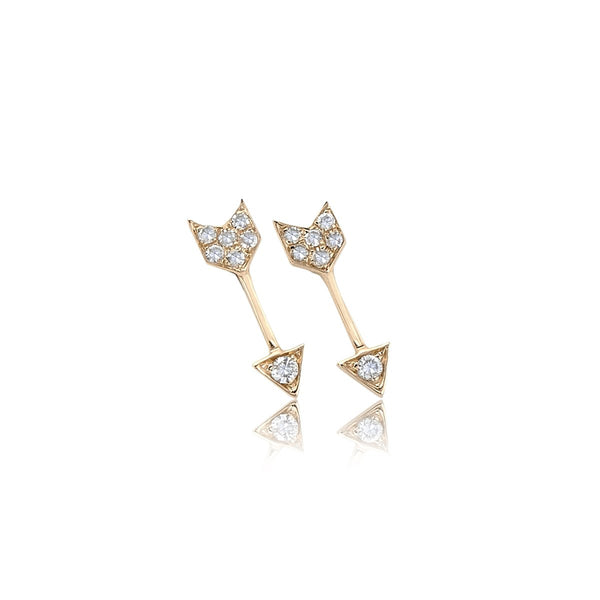 14K Gold Mini Arrow Stud Earrings | EF Collection | Fine Jewelry | Earrings