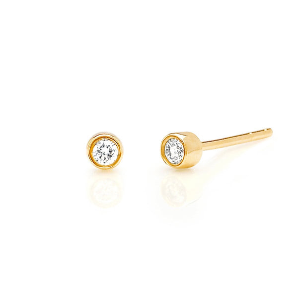 14K Gold Bezel Stud Earrings | EF Collection | Fine Jewelry | Earrings