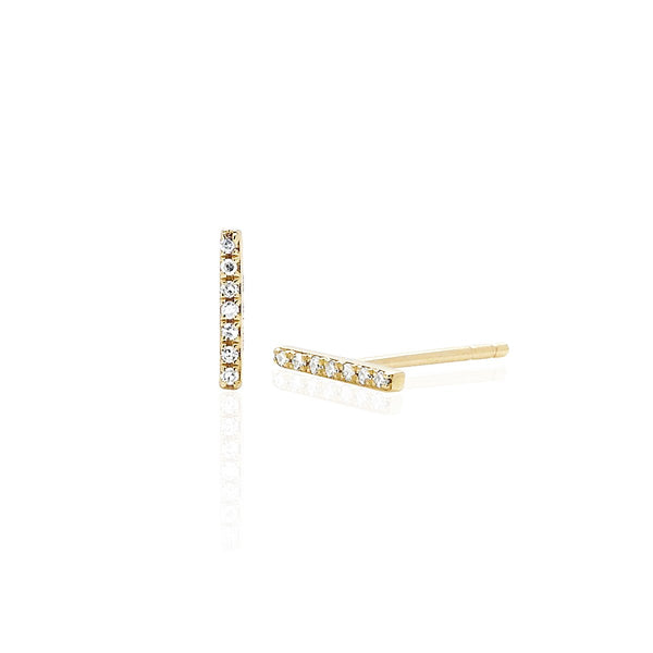 14K Gold Mini Bar Stud Earrings | EF Collection | Fine Jewelry | Earrings