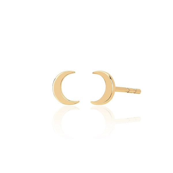 14K Gold Moon Stud Earrings | EF Collection | Fine Jewelry | Earrings