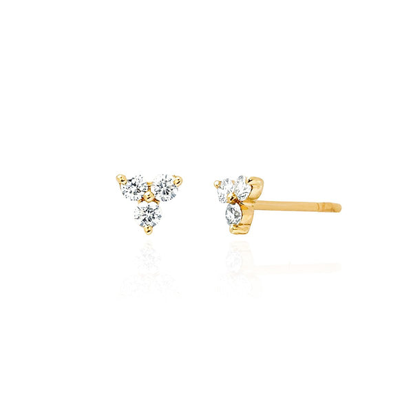 14K Gold Diamond Trio Stud Earrings | EF Collection | Fine Jewelry | Earrings
