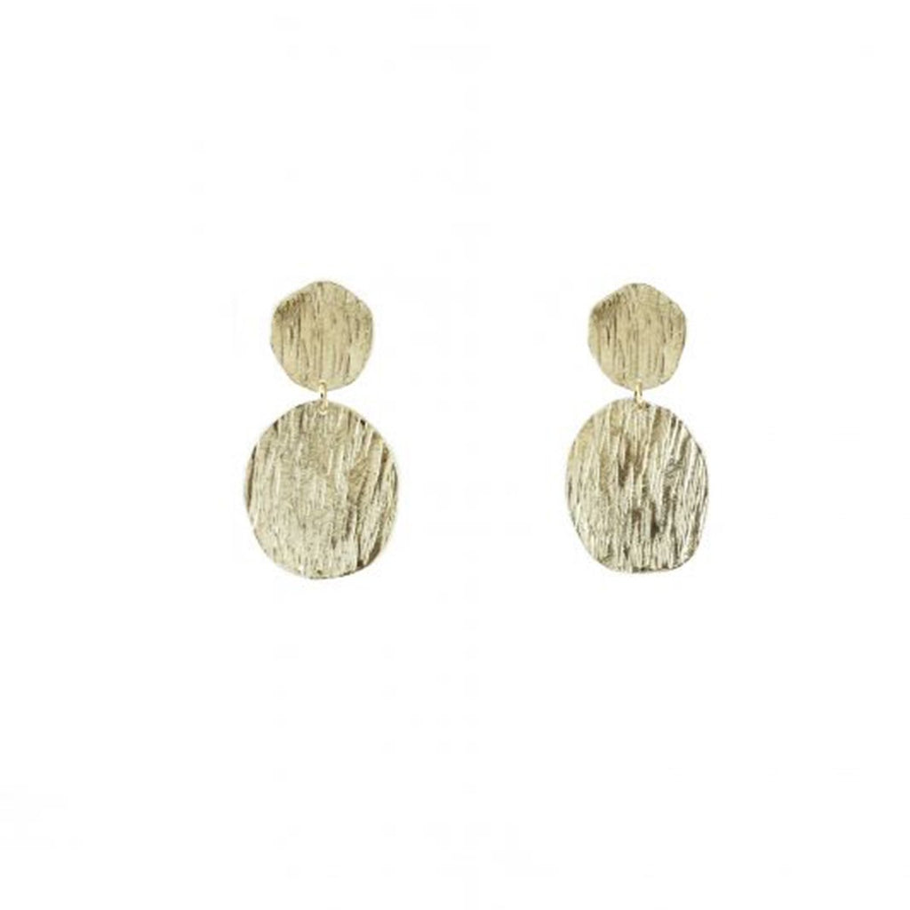 Two Textured Coins Earrings | Marcia Moran | Fashion Accessories | Earrings