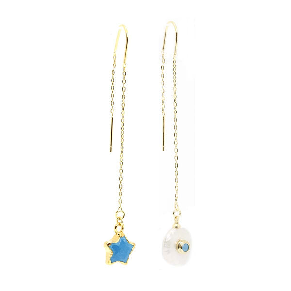 Star And Pearl Long Chain Earrings | Marcia Moran | Fashion Accessories | Earrings