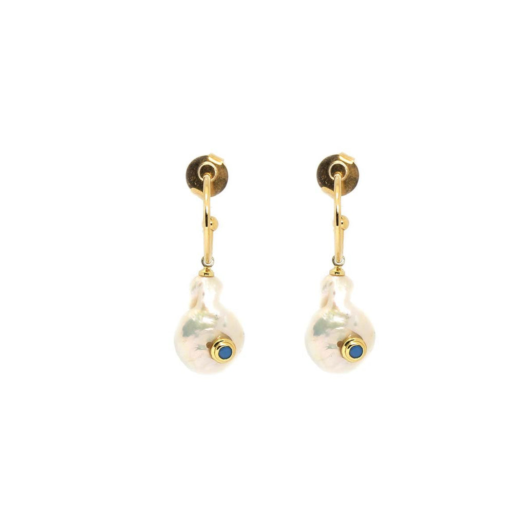 Turquoise And Pearl Mini Hoops Earrings | Marcia Moran | Fashion Accessories | Earrings