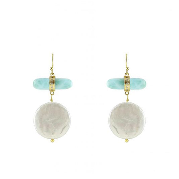 Single Stone Bar And Pearl Drop Earrings | Marcia Moran | Fashion Accessories | Earrings