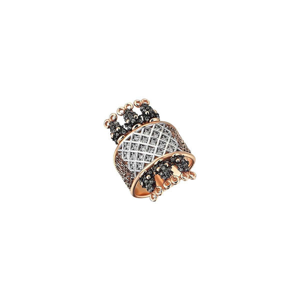 14K Rose Gold Six Serpent Cage Champagne Diamonds Ring | Kismet by Milka | Fine Jewelry | Ring