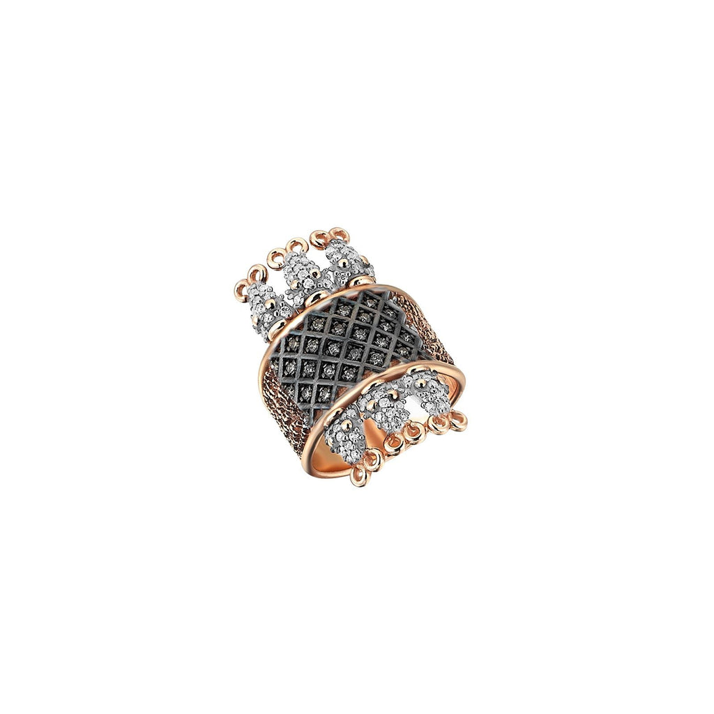 14K Rose Gold Six Serpent Cage White Diamonds Ring | Kismet by Milka | Fine Jewelry | Ring