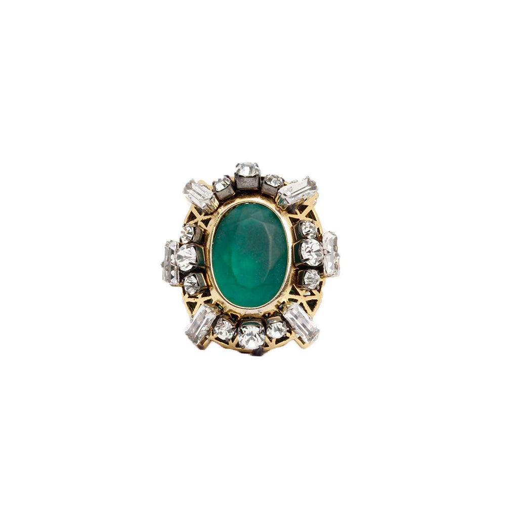 Green Oval Brass Ring | Rada | Fashion Accessories | Ring