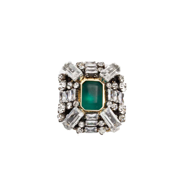 Green Square Brass Ring | Rada | Fashion Accessories | Ring