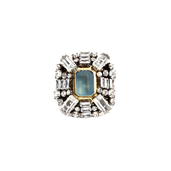 Light Blue Square Brass Ring | Rada | Fashion Accessories | Ring