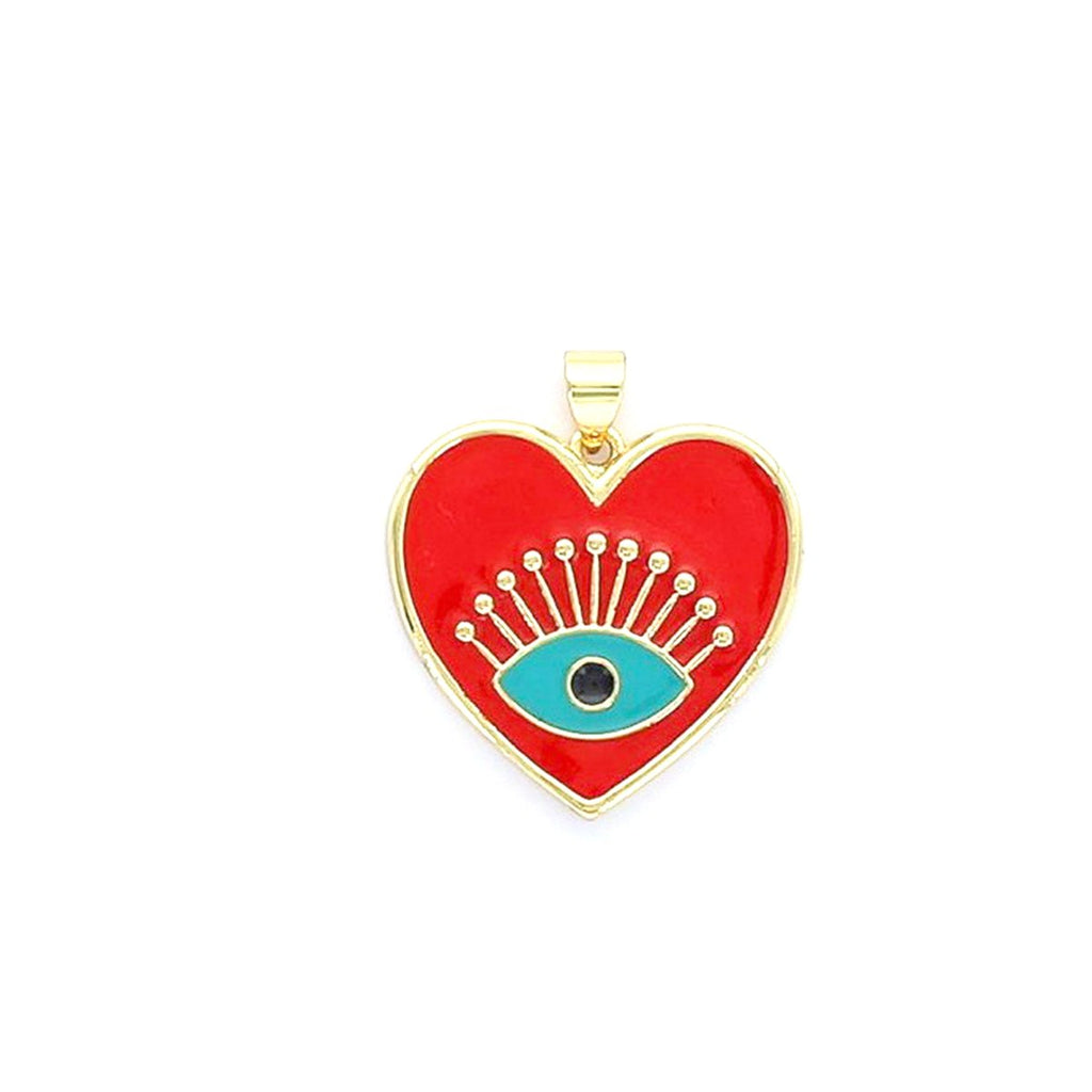 Red Enamel Heart Evil Eye Pendant | Boom & Mellow | Fashion Accessories | Necklace