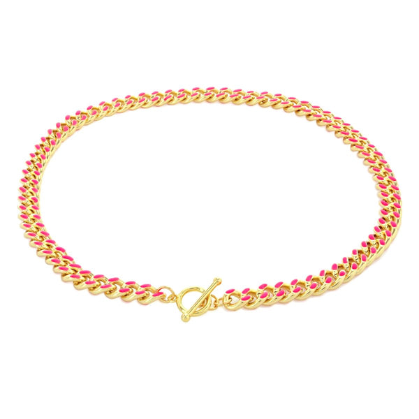 Hot Pink Enamel Curb Chain Necklace | Boom & Mellow | Fashion Accessories | Necklace