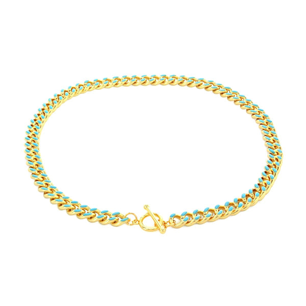 Teal Enamel Curb Chain Necklace | Boom & Mellow | Fashion Accessories | Necklace