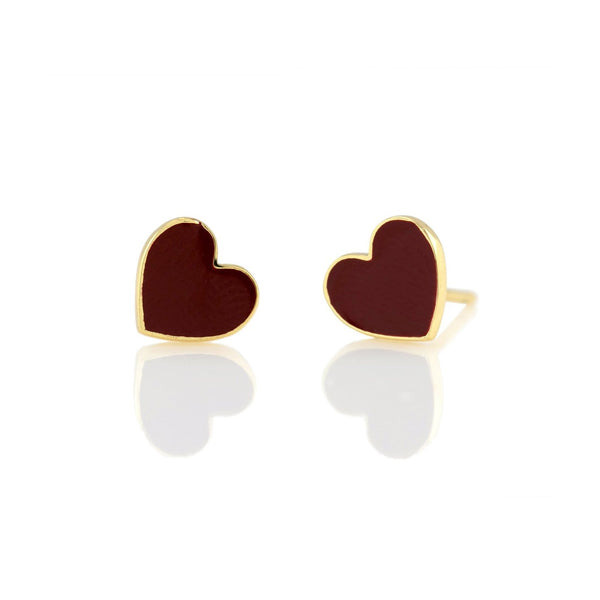 Heart Red Enamel Stud Earrings | Kris Nations | Fashion Accessories | Earrings
