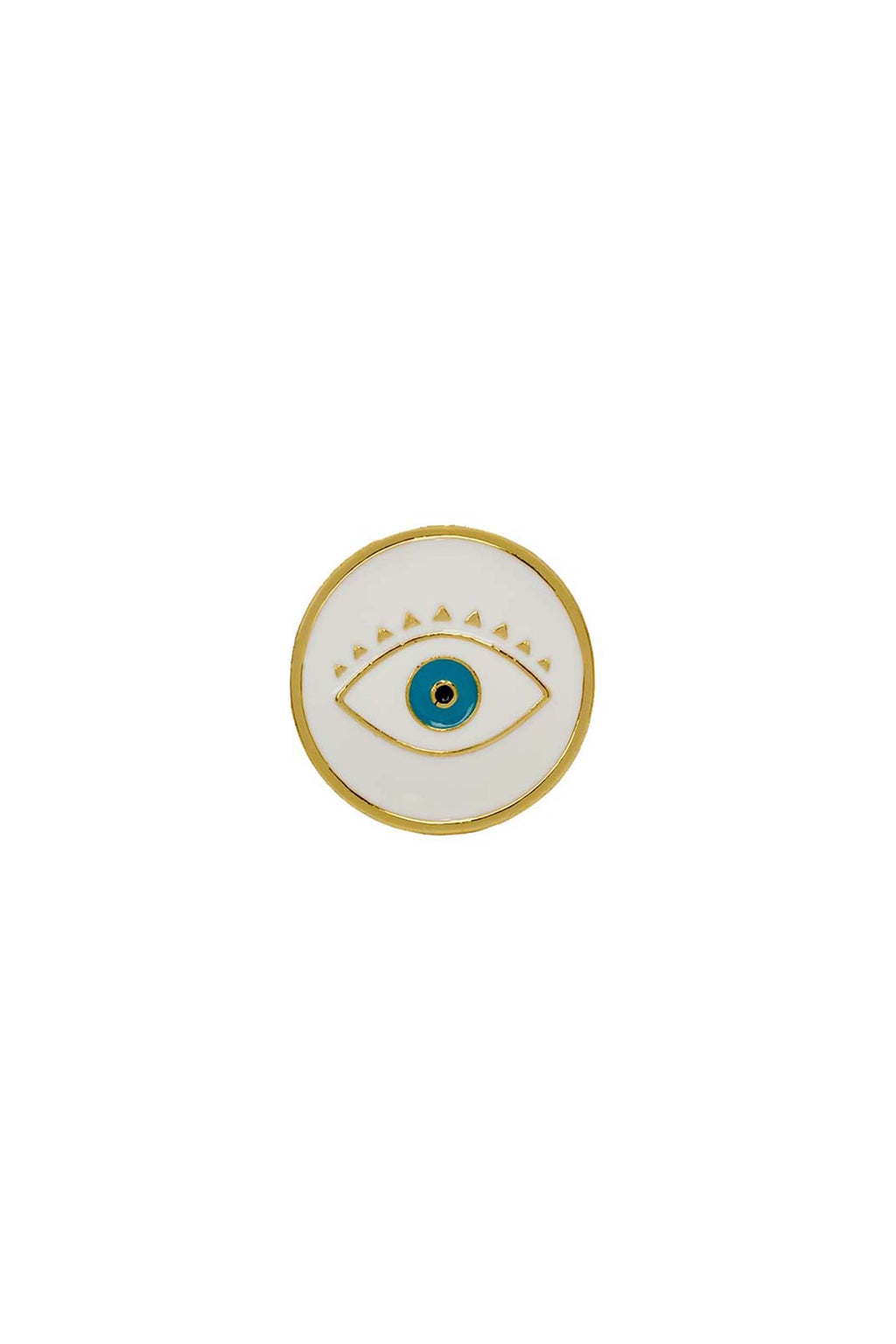 White Evil Eye Knuckle Round Ring | You & Eye | Fashion Accessories | Ring
