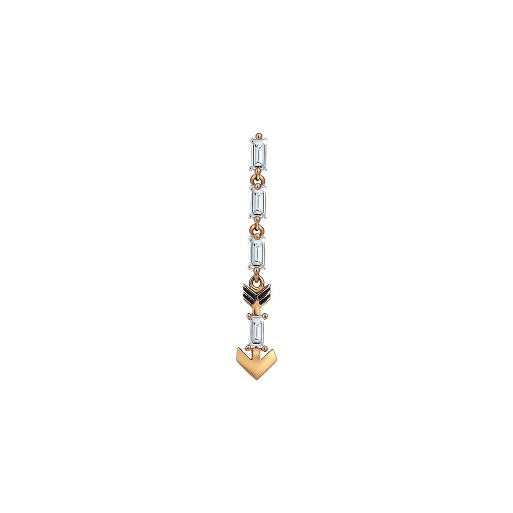 Single Piece 14K Rose Gold White Diamond Arrow Dangling Earring | Kismet by Milka | Fine Jewelry | Earrings