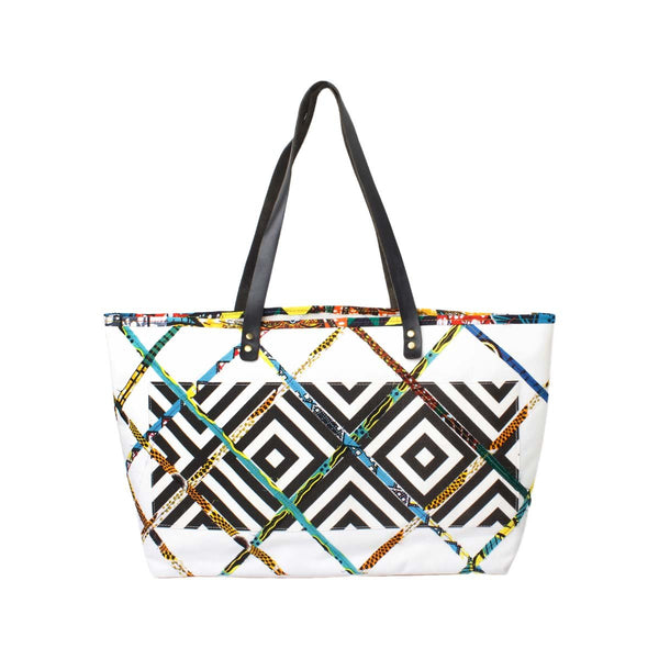 White Caba Tribal Beach Bag | Joumana Dagher | Bag | Beach Bag