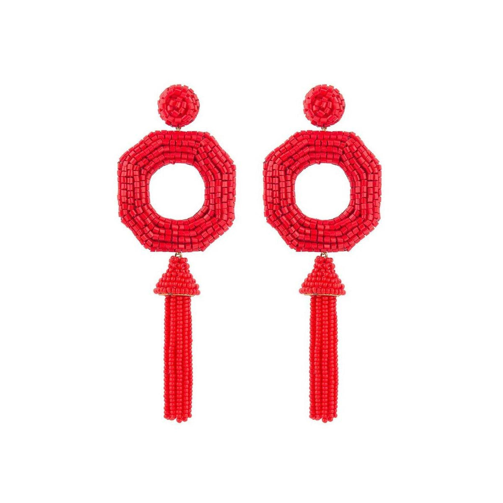 Red Isha Earrings | Deepa Gurnani | Fashion Accessories | Earrings