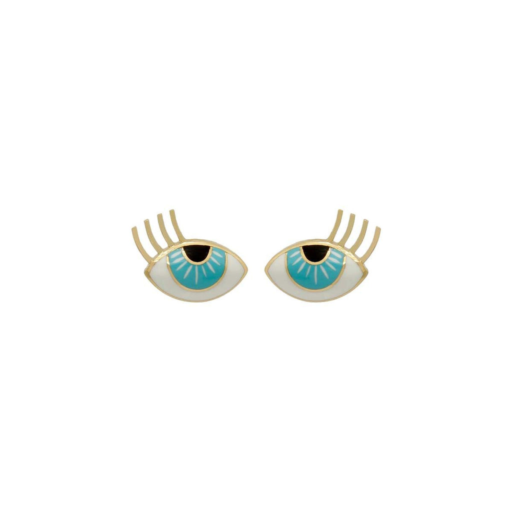 18K Gold Medium Two Enamel Aqua Eye Earrings | Orchids Jewelry | Fine Jewelry | Earrings