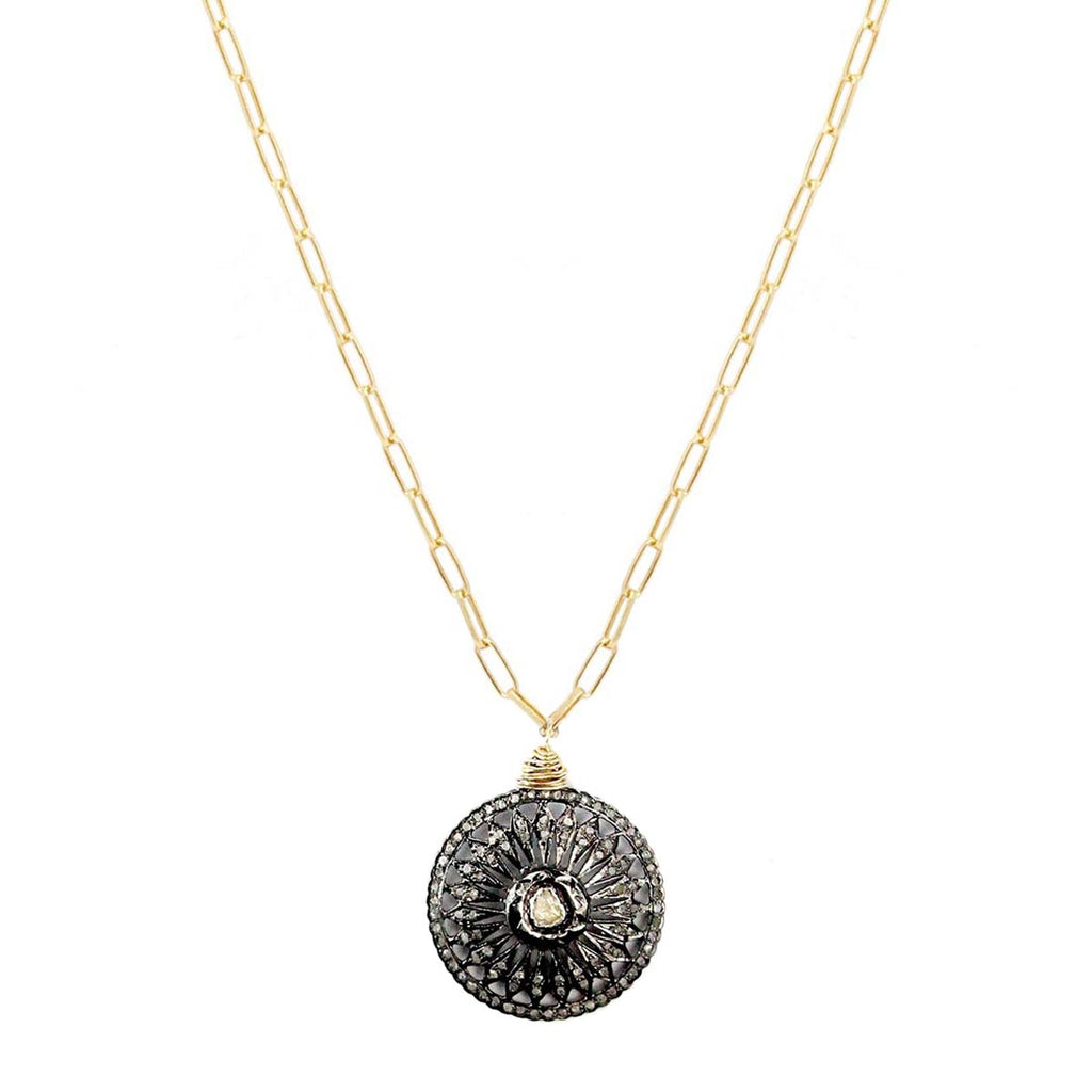 Rose Cut Diamond Coin Necklace | Bloom Jewelry | Fashion Accessories | Necklace