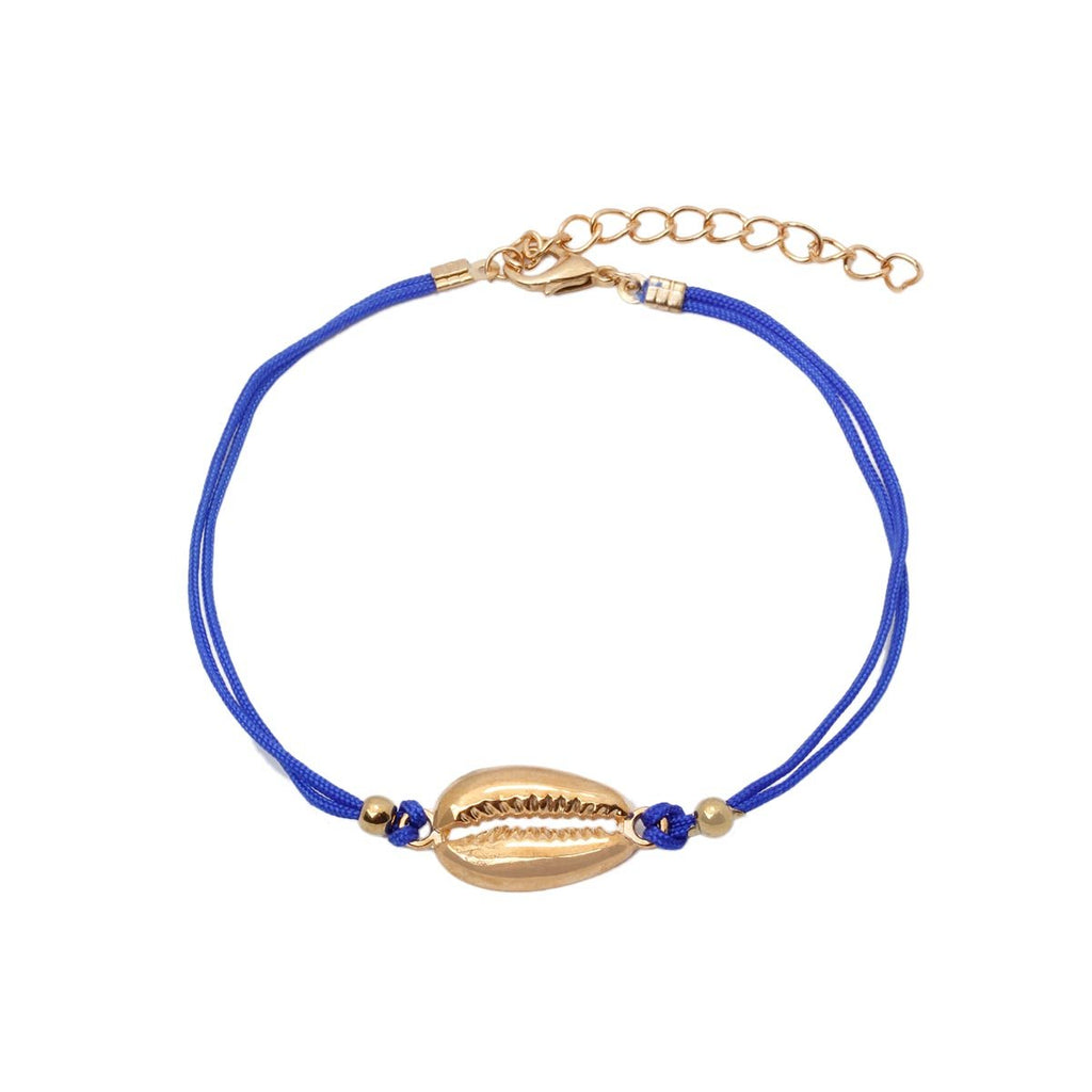 Cowry Shell Blue Fabric Anklet | Boom & Mellow | Fashion Accessories | Anklet