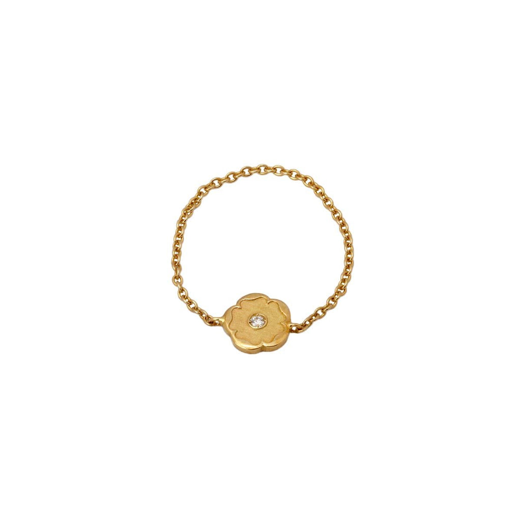 18K Gold Flower With Diamond Chain Ring | Nada Le Cavelier | Fine Jewelry | Ring