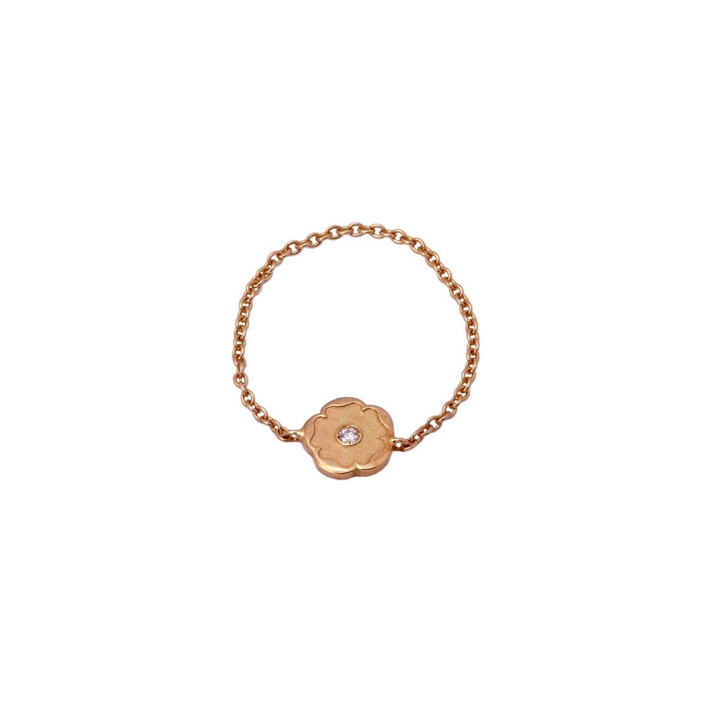 18K Rose Gold Flower With Diamond Chain Ring | Nada Le Cavelier | Fine Jewelry | Ring