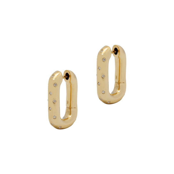 18K Gold Swing Dotted Earring | Stone | Fine Jewelry | Earrings