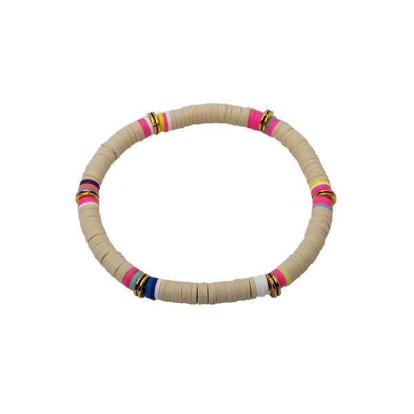 Camel Color Clay Beads Stretch Bracelet | Boom & Mellow | Fashion Accessories | Bracelet