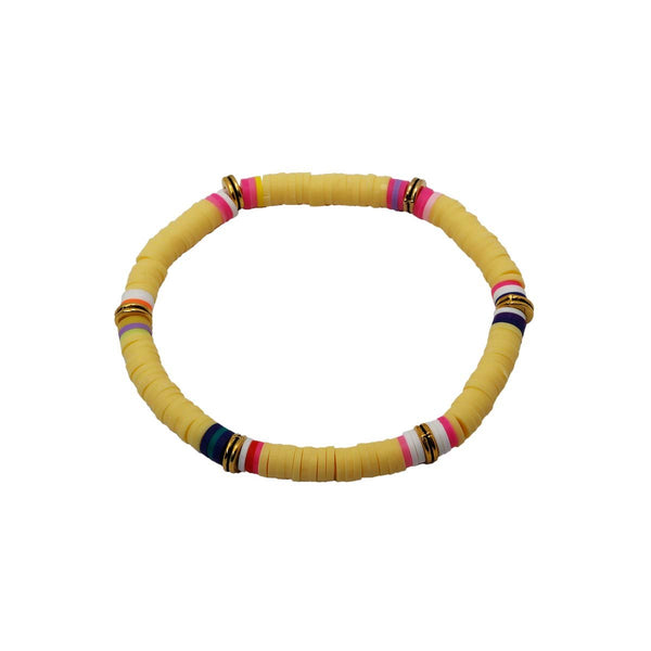 Yellow Color Clay Beads Stretch Bracelet | Boom & Mellow | Fashion Accessories | Bracelet