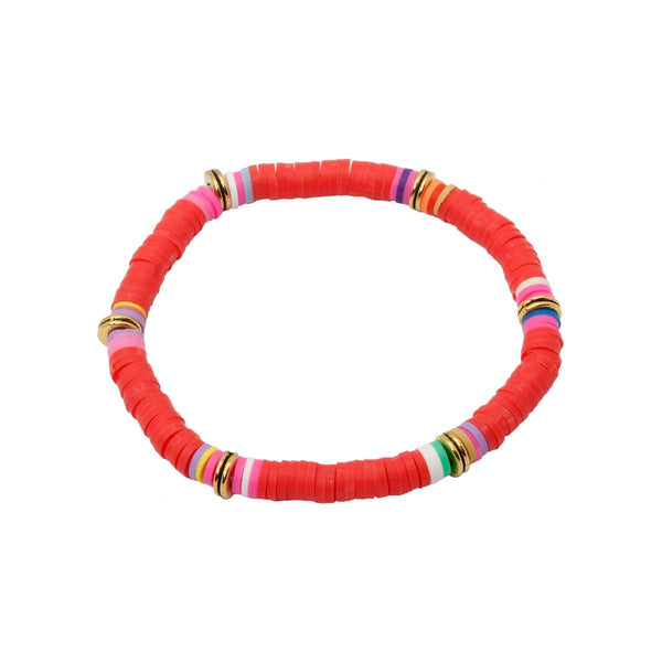 Red Color Clay Beads Stretch Bracelet | Boom & Mellow | Fashion Accessories | Bracelet