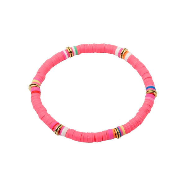 Pink Color Clay Beads Stretch Bracelet | Boom & Mellow | Fashion Accessories | Bracelet