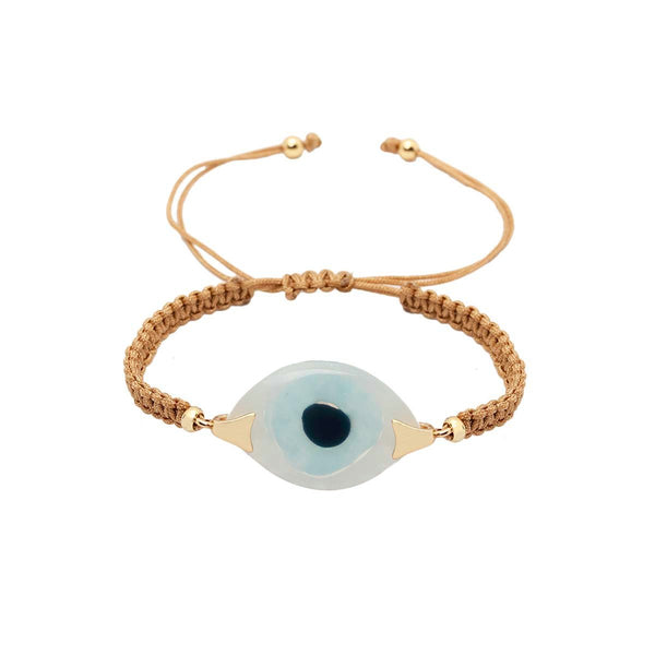 White And Aqua Turkish Evil Eye Gold Bracelet | You and Eye | Fashion Accessries | Bracelet