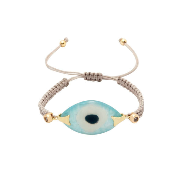White And Aqua Turkish Evil Eye Silver Bracelet | You and Eye | Fashion Accessries | Bracelet