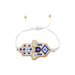 White Blue Beaded Hamsa Bracelet | Boom & Mellow | Fashion Accessories | Bracelet
