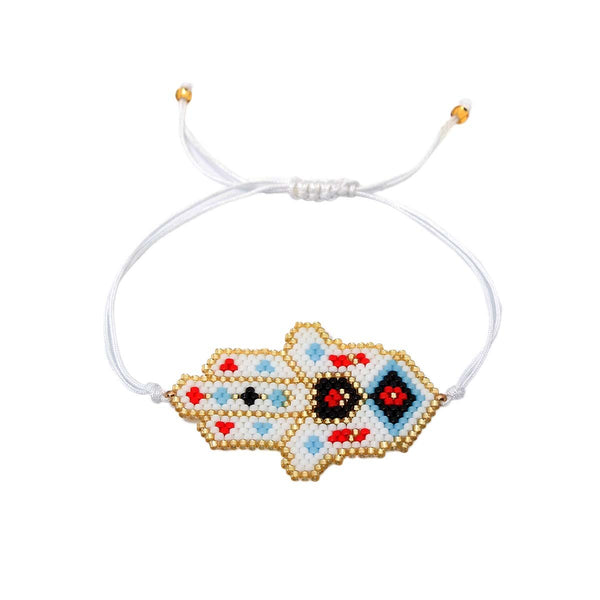 White Red Beaded Hamsa Bracelet | Boom & Mellow | Fashion Accessories | Bracelet