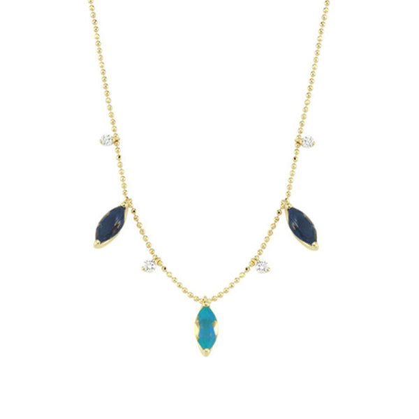 14K Gold Blue And Aqua Marquise Necklace | Lope | Fine Jewelry | Necklace