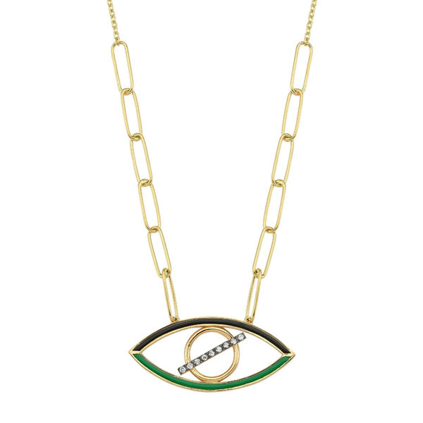 14K Gold Green Enamel Evil Eye With Diamonds Necklace | Lope | Fine Jewelry | Necklace