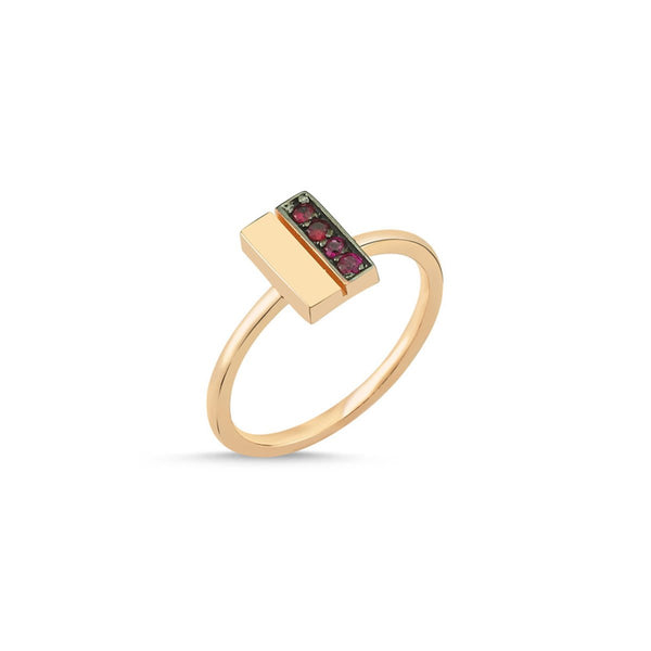 14K Rose Gold Double Line Centered Ruby Ring | Lope | Fine Jewelry | Ring
